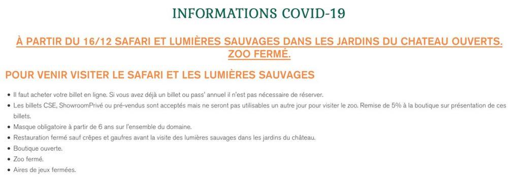re-ouverture du zoo safari de thoiry pour noel 2020 magre covid : liste des conditions et billets